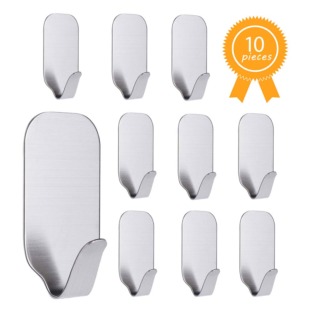 Self Adhesive Hooks, 10 Pack of Stainless Steel 3M Removable Wall Stick Hangers for Kitchens Bathrooms Offices Closets, Waterproof and No Drill Needed