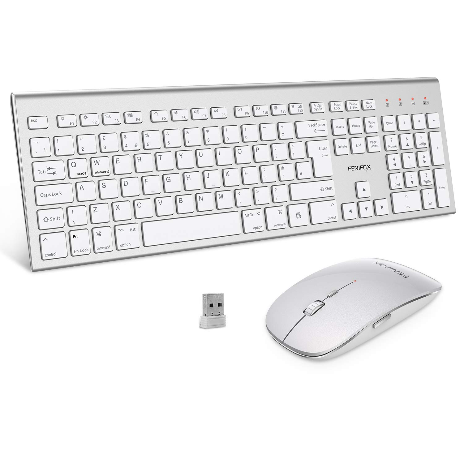 FENIFOX Wireless Keyboard & Mouse, Dual System Switching Double Ergonomic 2.4G USB QWERTY Full Size UK Layout for Computer PC Mac imac Laptop Windows 10 8 7 Xp