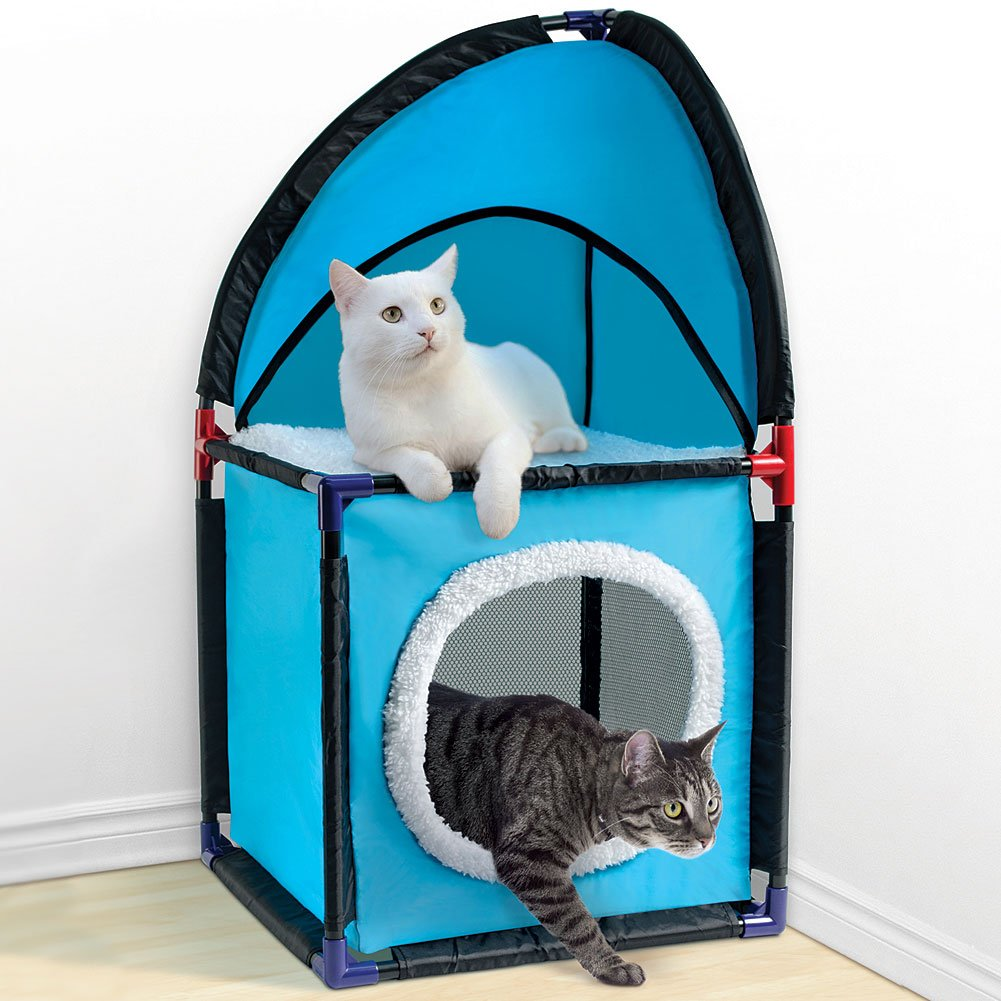 Pet Parade Two Tier, Durable, And Easy To Assemble Cat Corner Condo Tower, Blue