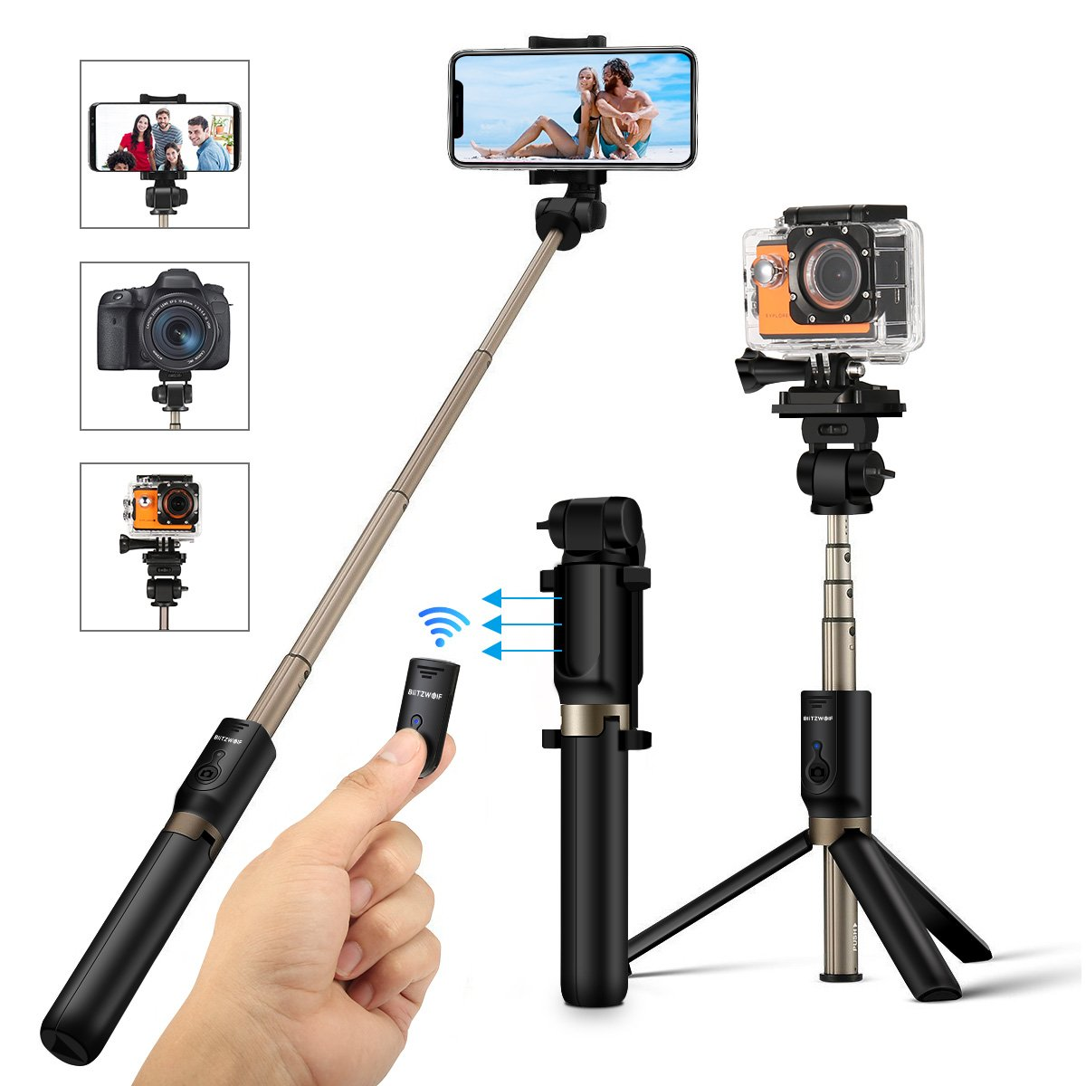 Selfie Stick Tripod with Remote for Action Camera iPhone Android 3.5-6 inch Smartphone – BlitzWolf 4 in 1 Selfie Stick