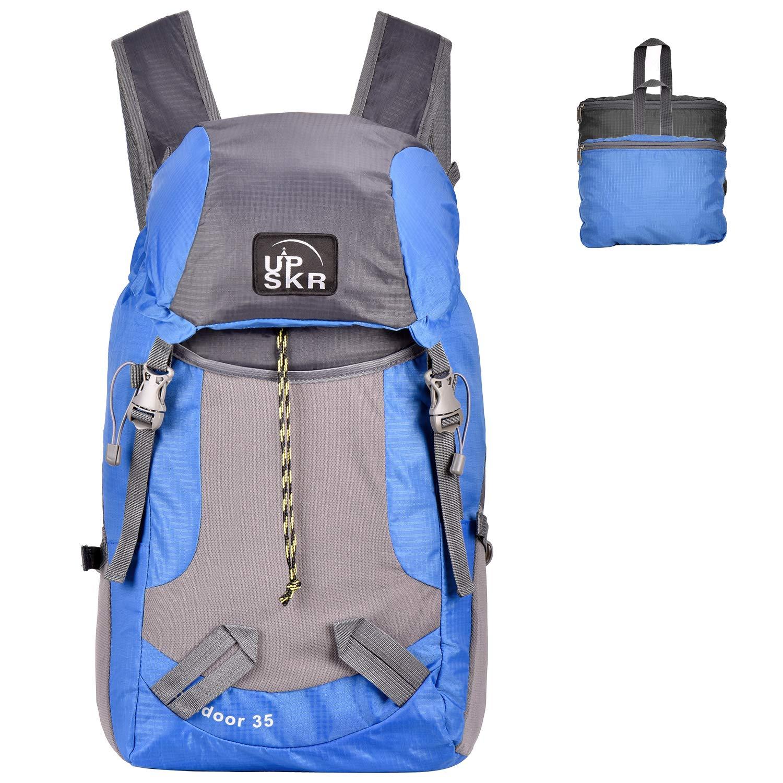 UPSKR 35L Foldable Backpack Lightweight Rucksack Unisex Daypack for Travel, Outdoor Sports or Shopping Blue/Black