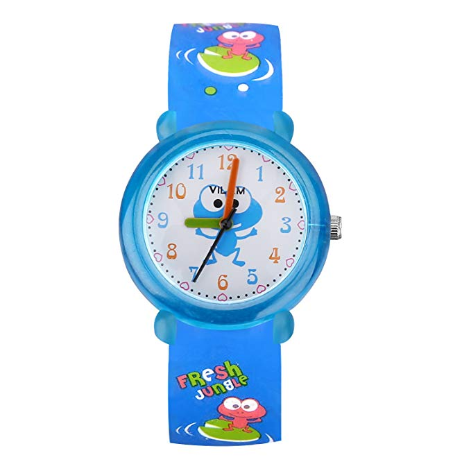 XREXS Kids Watch Teenagers Young Time Teacher Watches PU Band Children Cartoon Wristwatch Child Silicone Wrist Watches Gift for Boys Girls Little Child