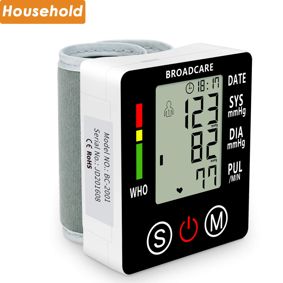 Wrist Blood Pressure Monitor from BROADCARE, Adjustable Cuff Size, Double 99 Memory Groups, Built-in Rechargeable Lithium Battery