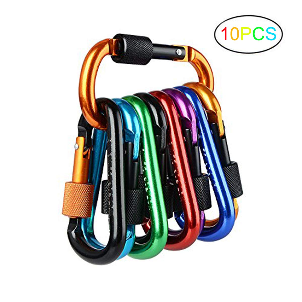 Firlar 10 PCS Locking Carabiner, Premium Aluminum Alloy Carabiner, Spring-loaded D-Ring Key Chain Clip Hook For Camping Hiking Traveling (Not for Climbing)