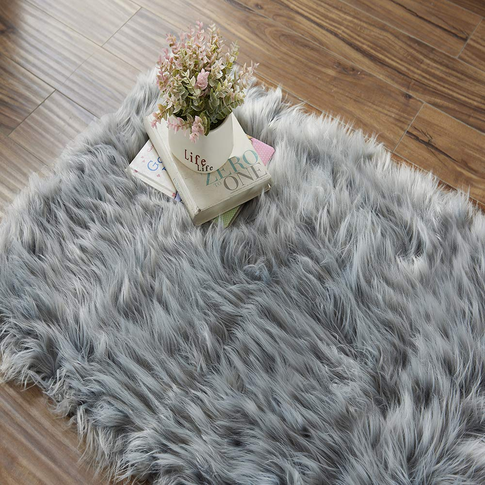 60 x 90cm Rug,Super Soft Faux Fur Area Rugs Floor Mat Carpet Pads for Living Room Bedroom Home Decor