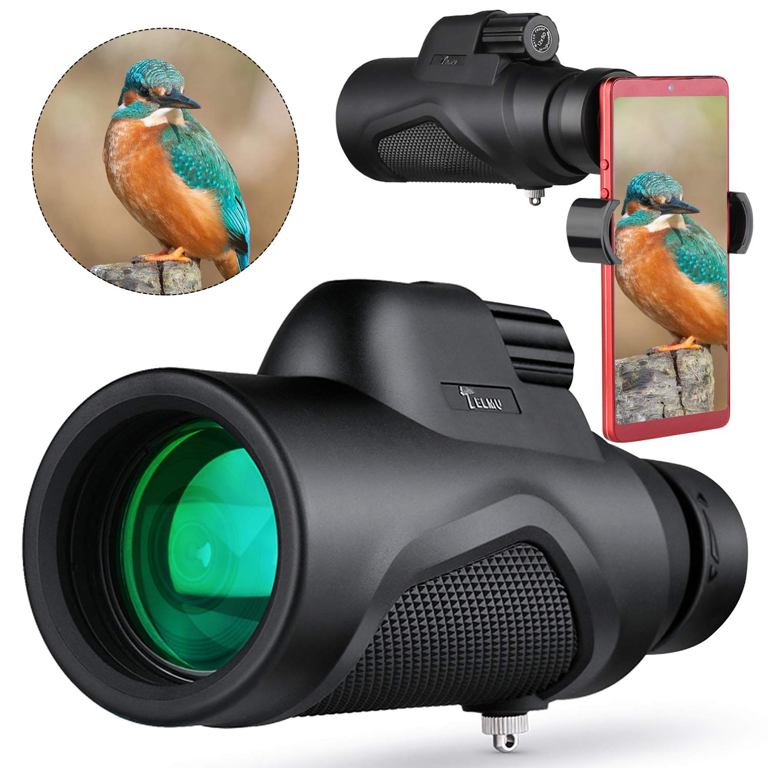 TELMU Monocular for BirdWatching 12×50 High Power Bak4 Prism Monoculars Telescope Zoom Waterproof Non-slip