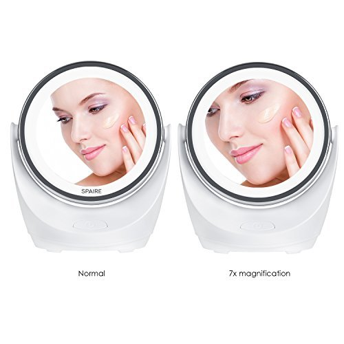 spaire Make-up Mirror LED 7X/1X Magnifying Mirror with Lighting Double-sided LED Make-up Mirror