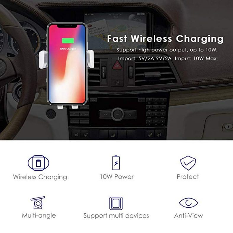 AZDOME Wireless Car Charger Mount Qi Fast Wireless Charger 2 in 1 Automatic Inductive Car Air Vent Stand Phone Holder