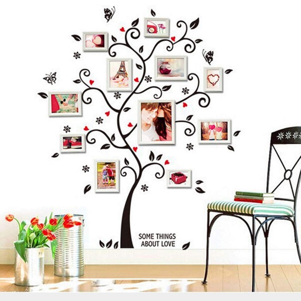 Dieron 3D DIY Removable Photo Tree PVC Wall Stickers/Wall Stickers Art Mural Home Decoration Removable,18X24inch