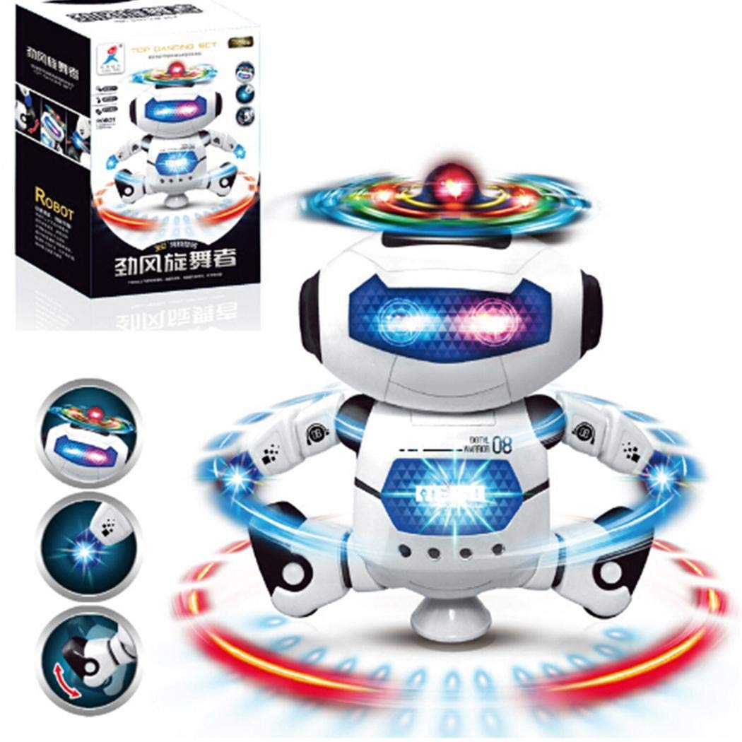 vobome 360 Degree Rotating Electric Toy Robot Light Music Dancing Robot Robots