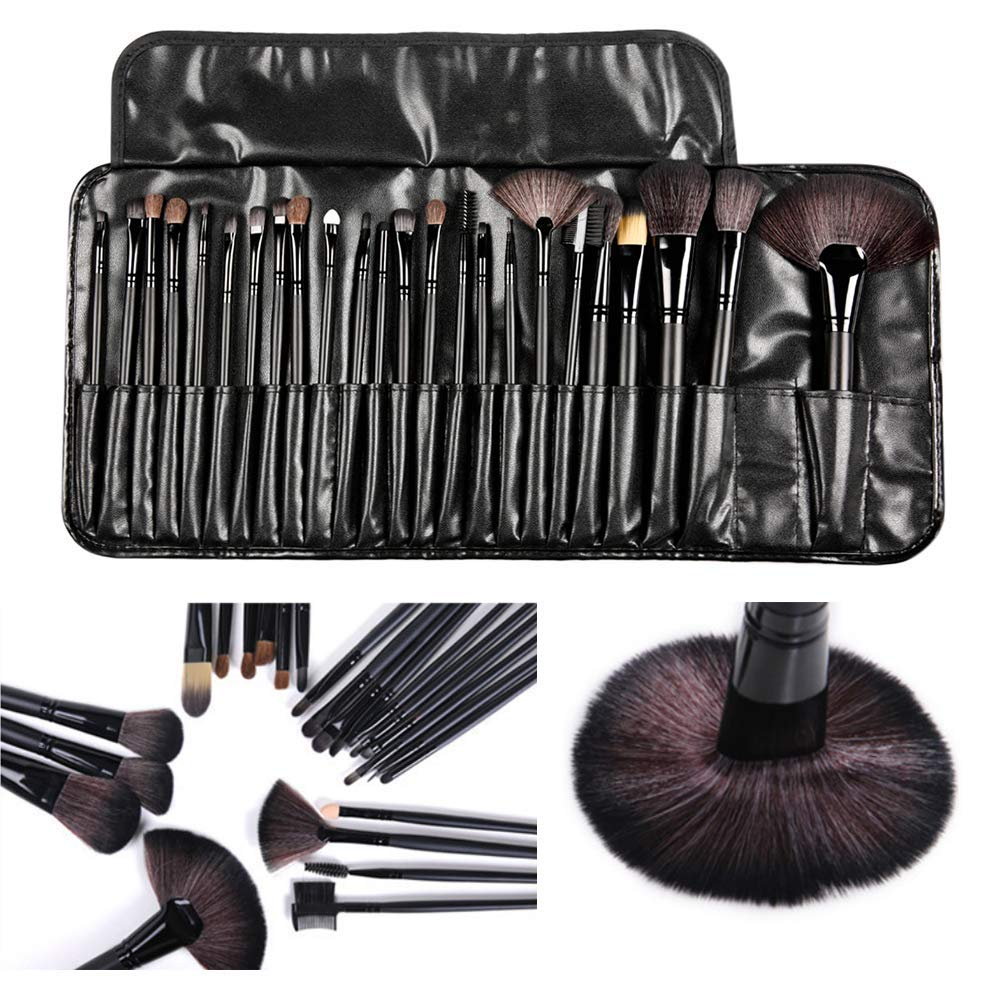 24 Pcs Makeup Brush Set with Portable Case Beauty Brushes Kit