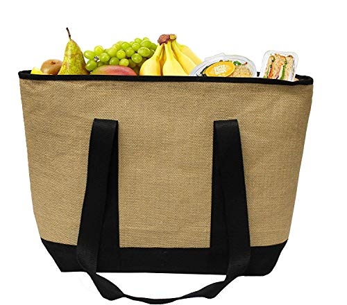 Earthwise Insulated Grocery Bag Jute Shopping Tote