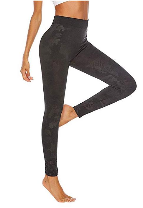 YUHX Women Black Camouflage Workout Leggings High Waist Tummy Control Yoga Pants Running Trousers