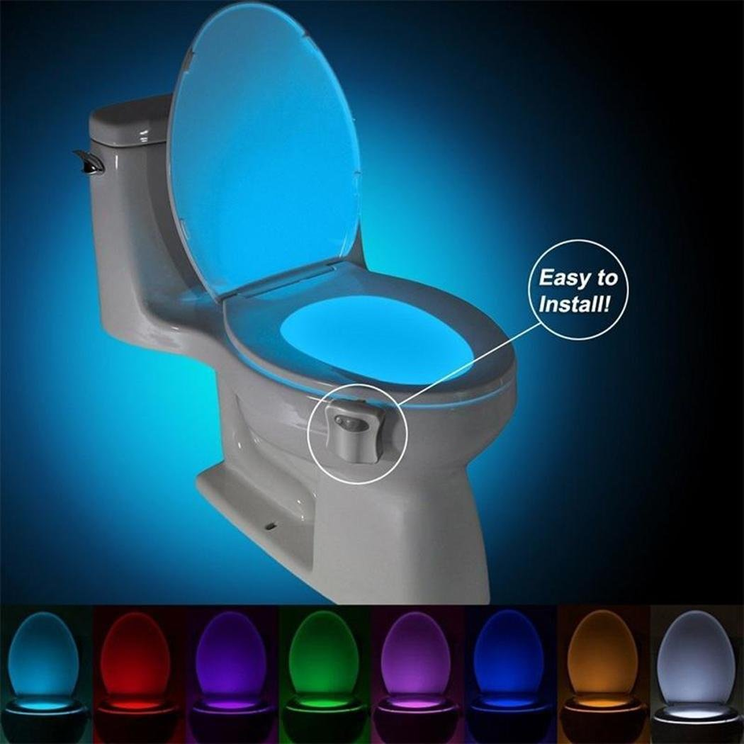 Iiloens 16 Colors LED Motion Activated Sensor Automatic Toilet Bowl Night Light New Night Lights