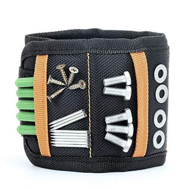 Magnetic Wristband with 10 Powerful Magnets Adjustable Magnetic Wrist Band for Holding Tolls, Screws, Nails, Scissors, Fasteners, Washers, Bolts