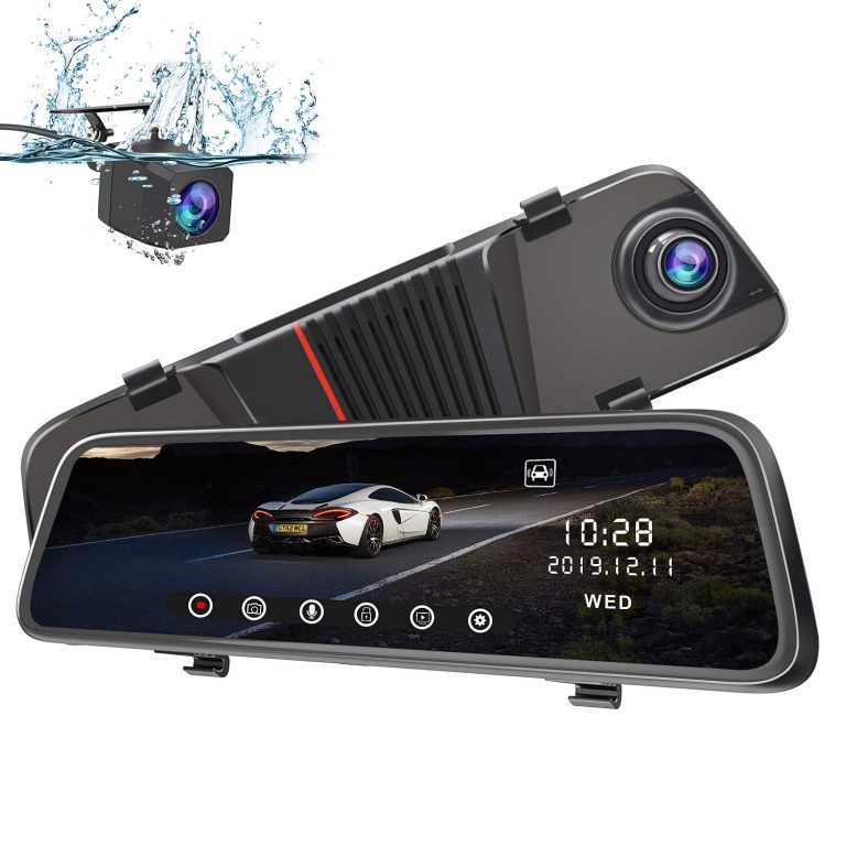 H11 Mirror Dash Cam 10″ IPS Touch Screen Streaming Media Camera