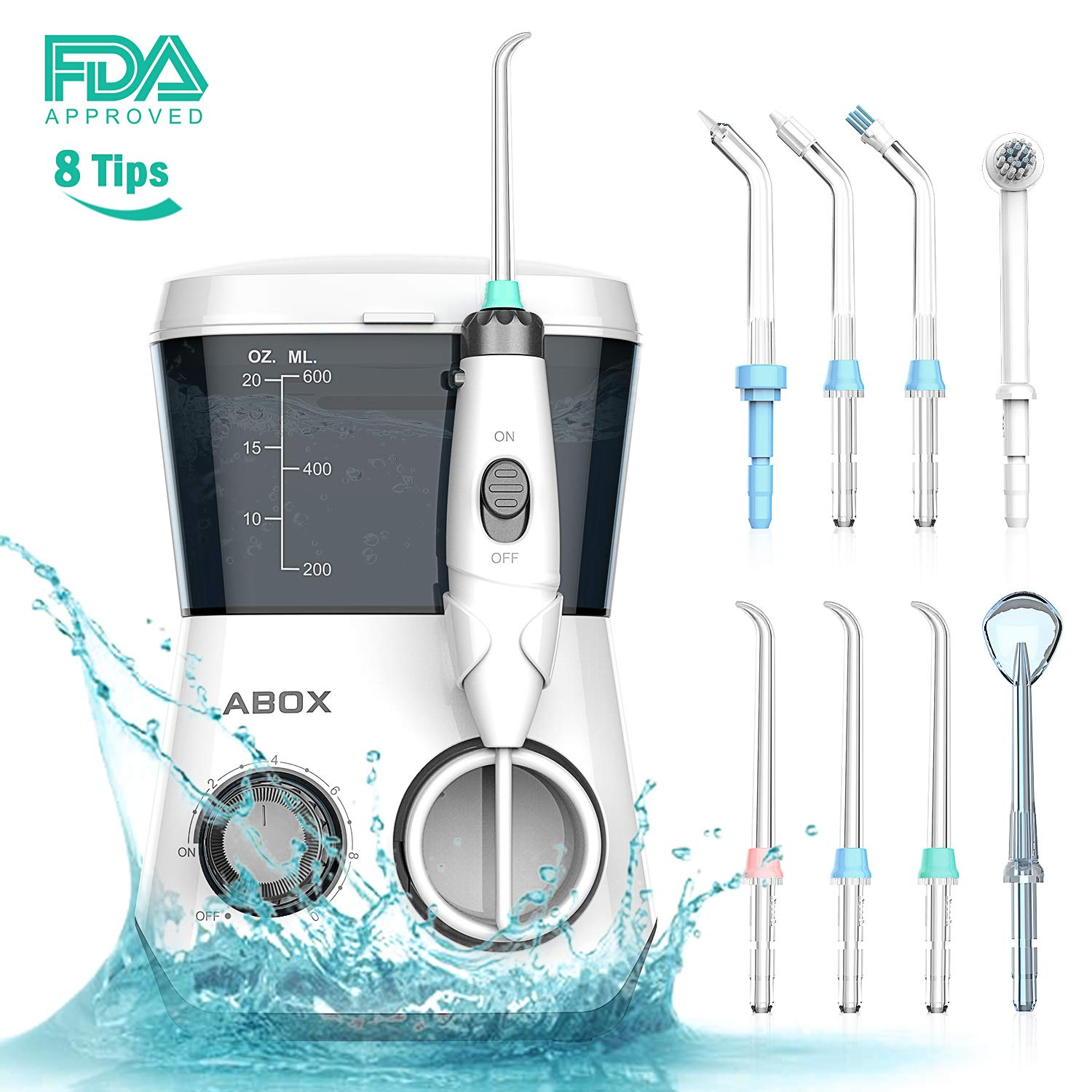 ABOX Water Flosser, Oral Irrigator Flossing Machine with 8 Jet Nozzles and 600ml Reservoir
