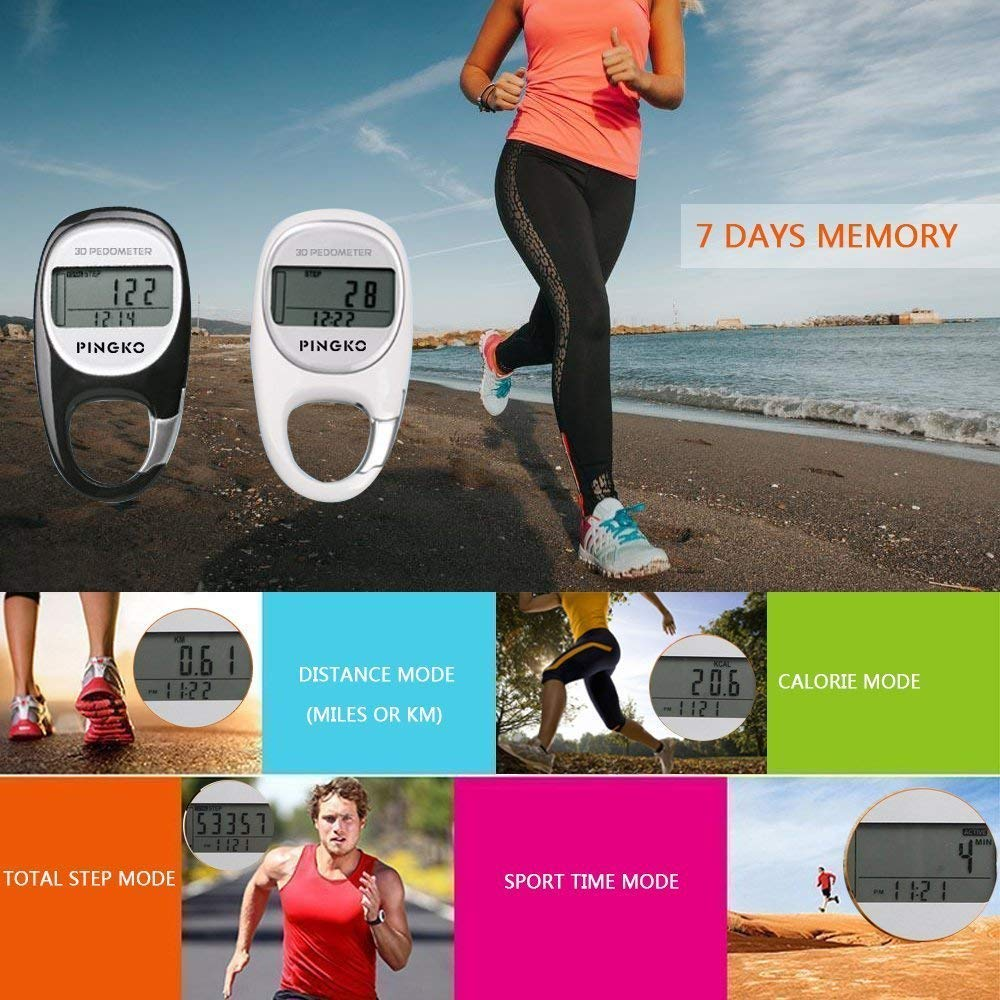 Pingko 3D Carabiner Pedometer Activity Fitness Tracker