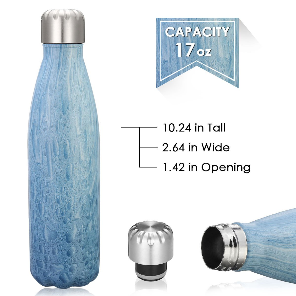 king do way Insulated Stainless Steel Water Vacuum Bottle Double-walled for Outdoor Sports Hiking Running, 500ml/17 oz