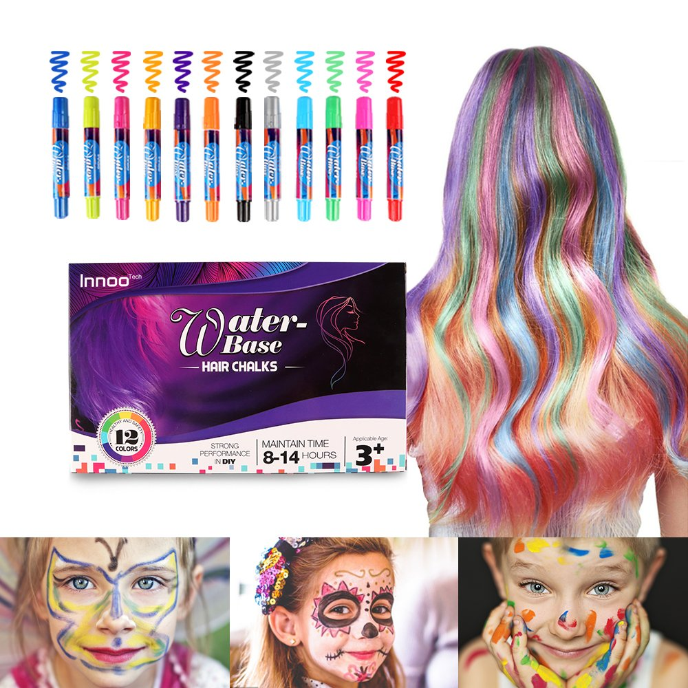 Hair Chalk for Girls – Hair Colour Face Faint Body Paint Crayons Toys|12 Color Temporary Hair Colour Pens Non-Toxic Washable