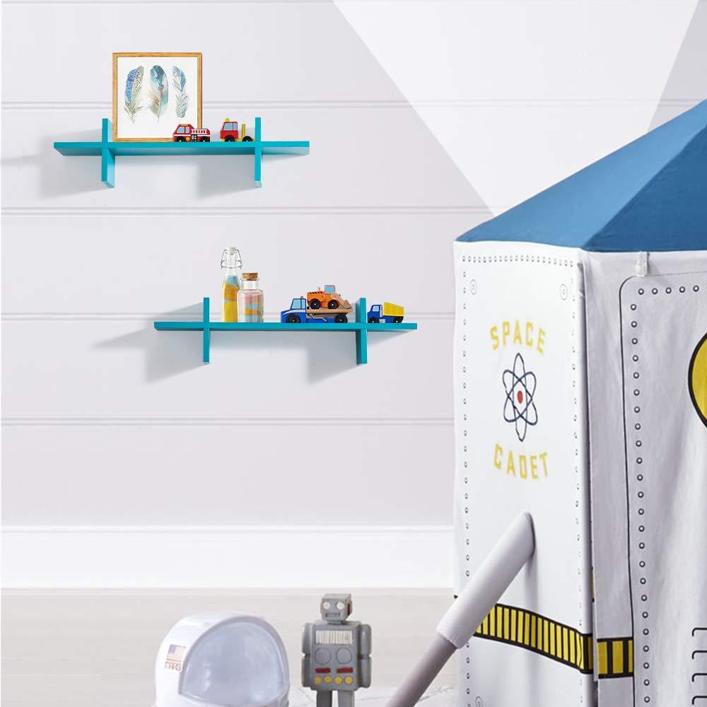 Decorative H Shaped Floating Shelves Wall Mounted Ledge Display Storage Set of 2 pcs, Blue