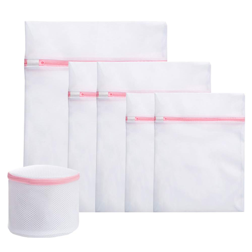 6Pcs Mesh Laundry Bags for Delicates with Zipper, Travel Storage Organize Bag, Clothing Washing Bags Set for Laundry