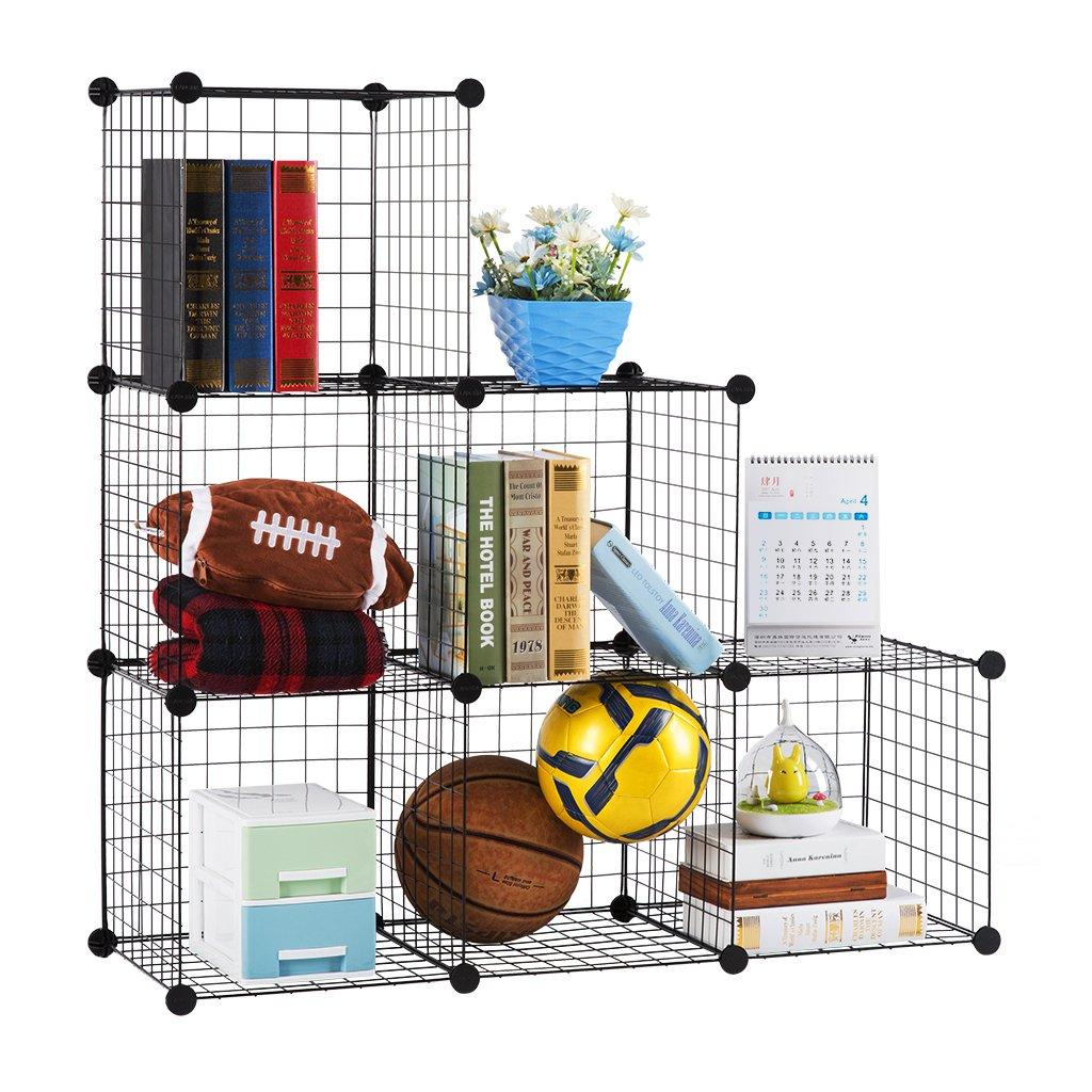 LANGRIA 6-Cube DIY Wire Grid Bookcas