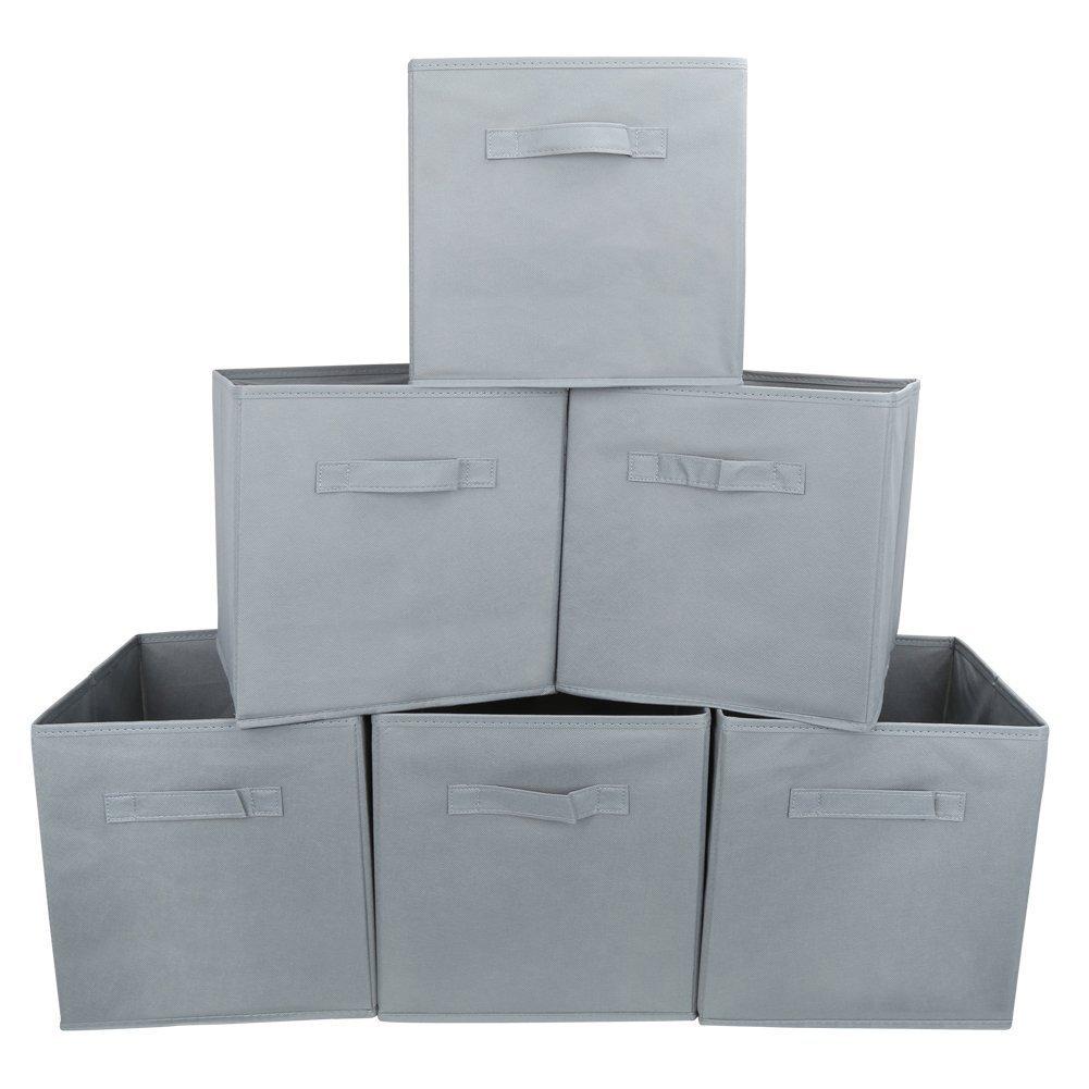 EZOWare Storage Box (Pack of 6), Foldable Organiser Cube Basket