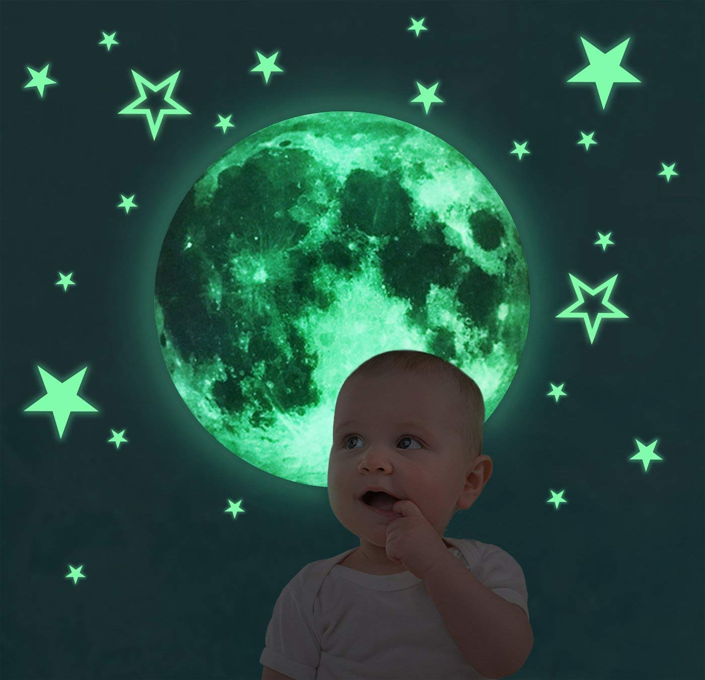 Glow in The Dark Stars and Moon Wall/Ceiling Stickers Set