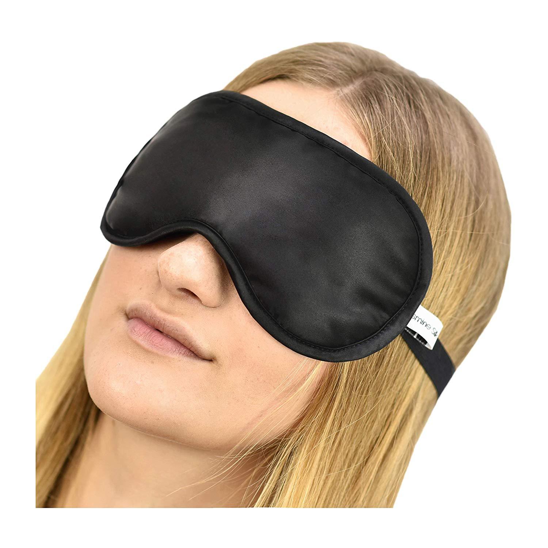 Jasmine Silk 100% Pure Silk Filled Eye Mask / Sleeping Mask Sleep Mask – BLACK