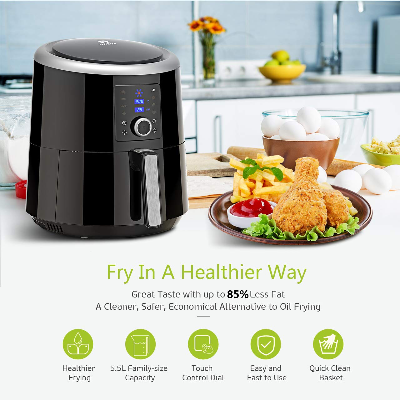 Habor 5.5L Air Fryer,1800W Digital Air Fryer 7-in-1 Oil Free Healthy Fryer