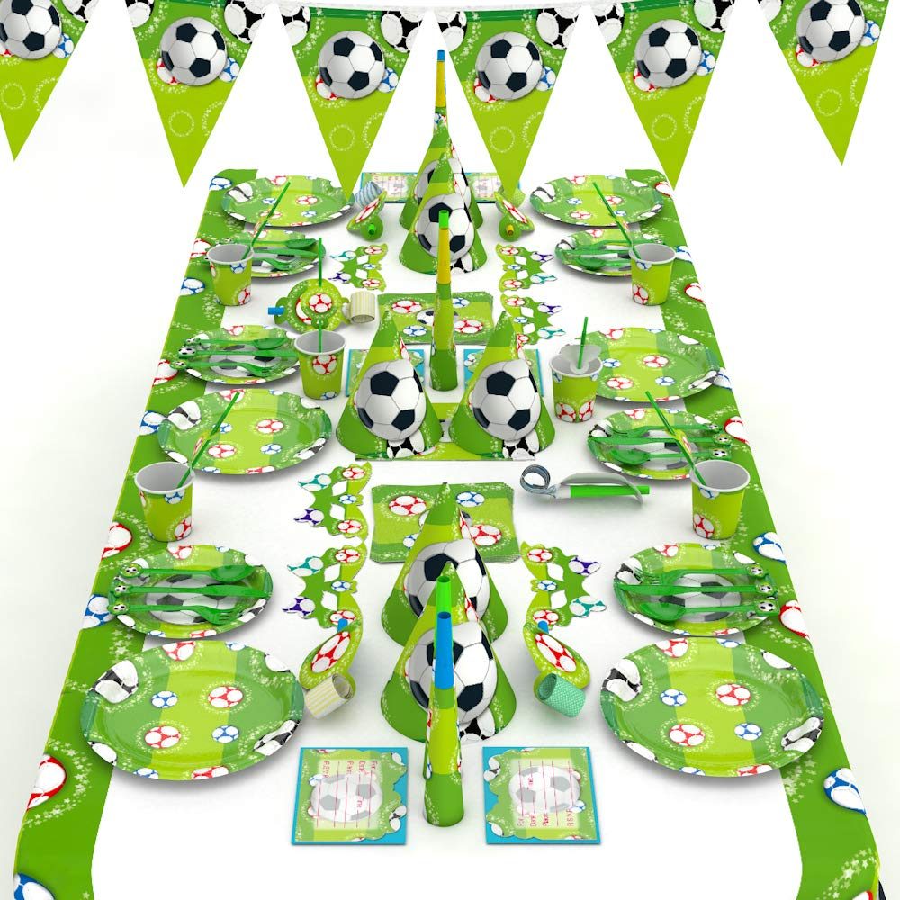 XREXS Soccer Party Supplies 16 Style Soccer Birthday Party Supplies Pack