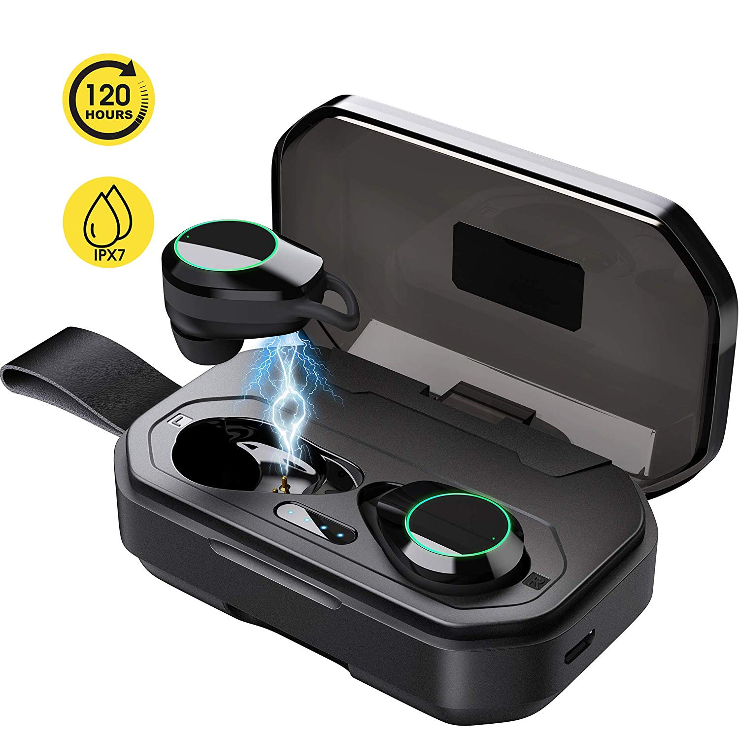 Updated 2019 Version Wireless Headphones, Bluetooth 5.0 True Wireless Earbuds IPX7 Waterproof Built-in Mic Headset