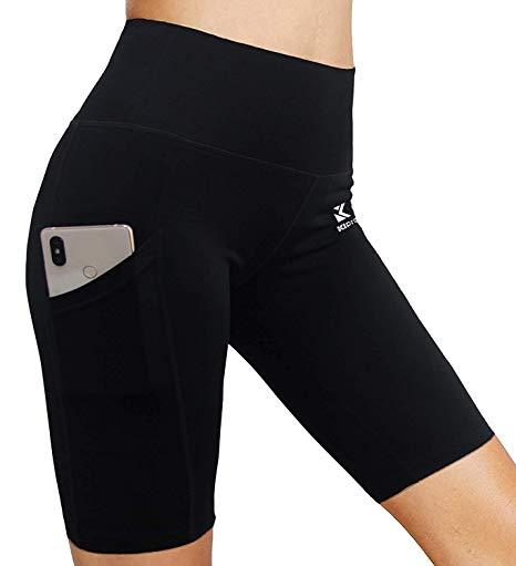 Womens High Waist Yoga Short Out Pocket Workout Jogging Dance Activewear