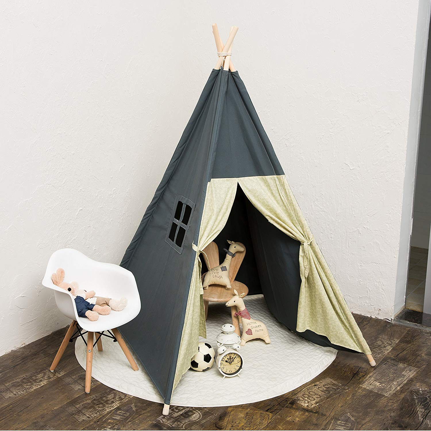RONGFA new Family safe children play tents,With a window,The curtain has a strap fixed