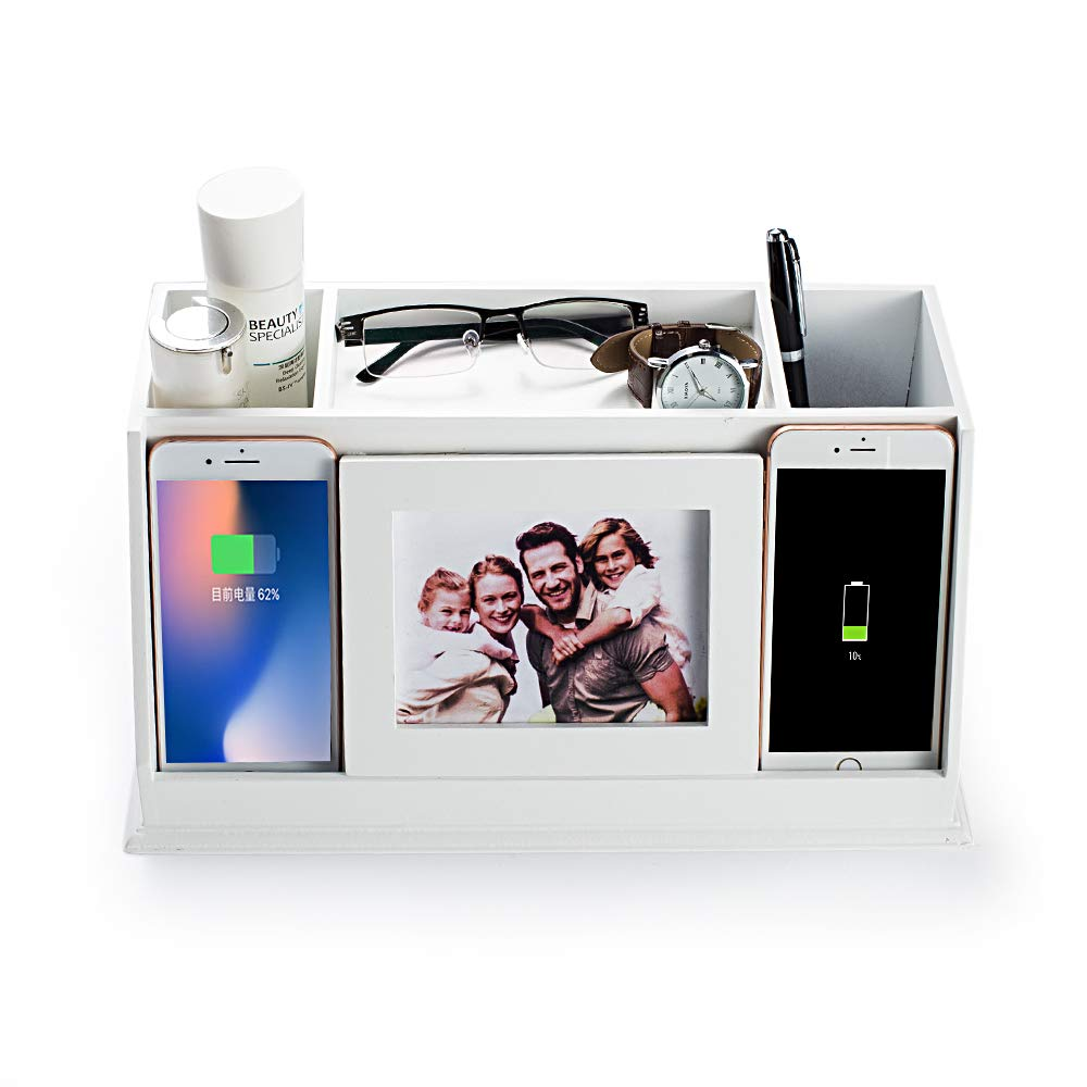 AHDECOR Desk Organizer Pencil Holder Charging Station Remote Control Storage with Photo Openings for Desktop Home Office, 34.3×18.1×16.8CM