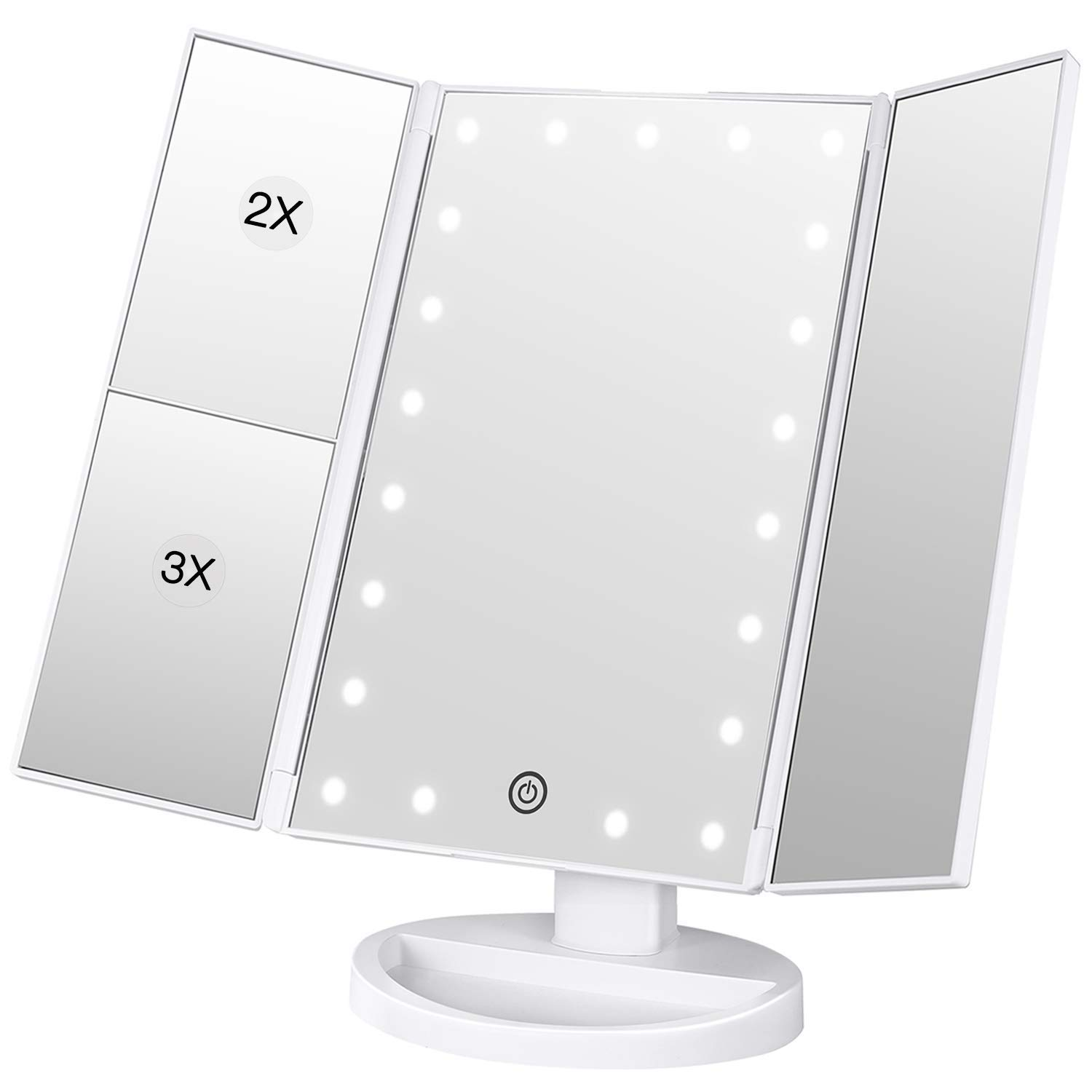 Magnification Vanity Make up Mirror White 21 LED Lights Tri-Fold Mirrors