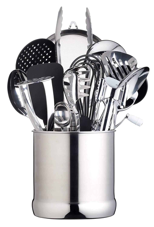 Extra-Large Stainless Steel Kitchen Utensil Holder, 18 x 18 cm