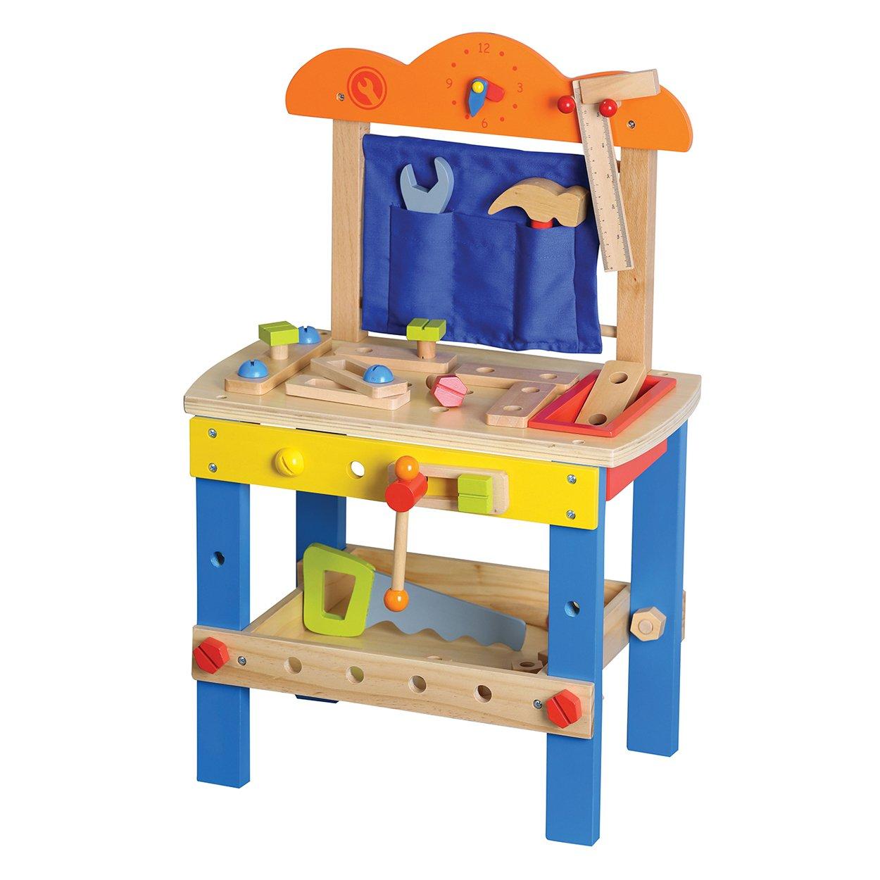 LELIN Wooden Childrens DIY Builder Carpentry Construction Work Bench Set 49 pieces
