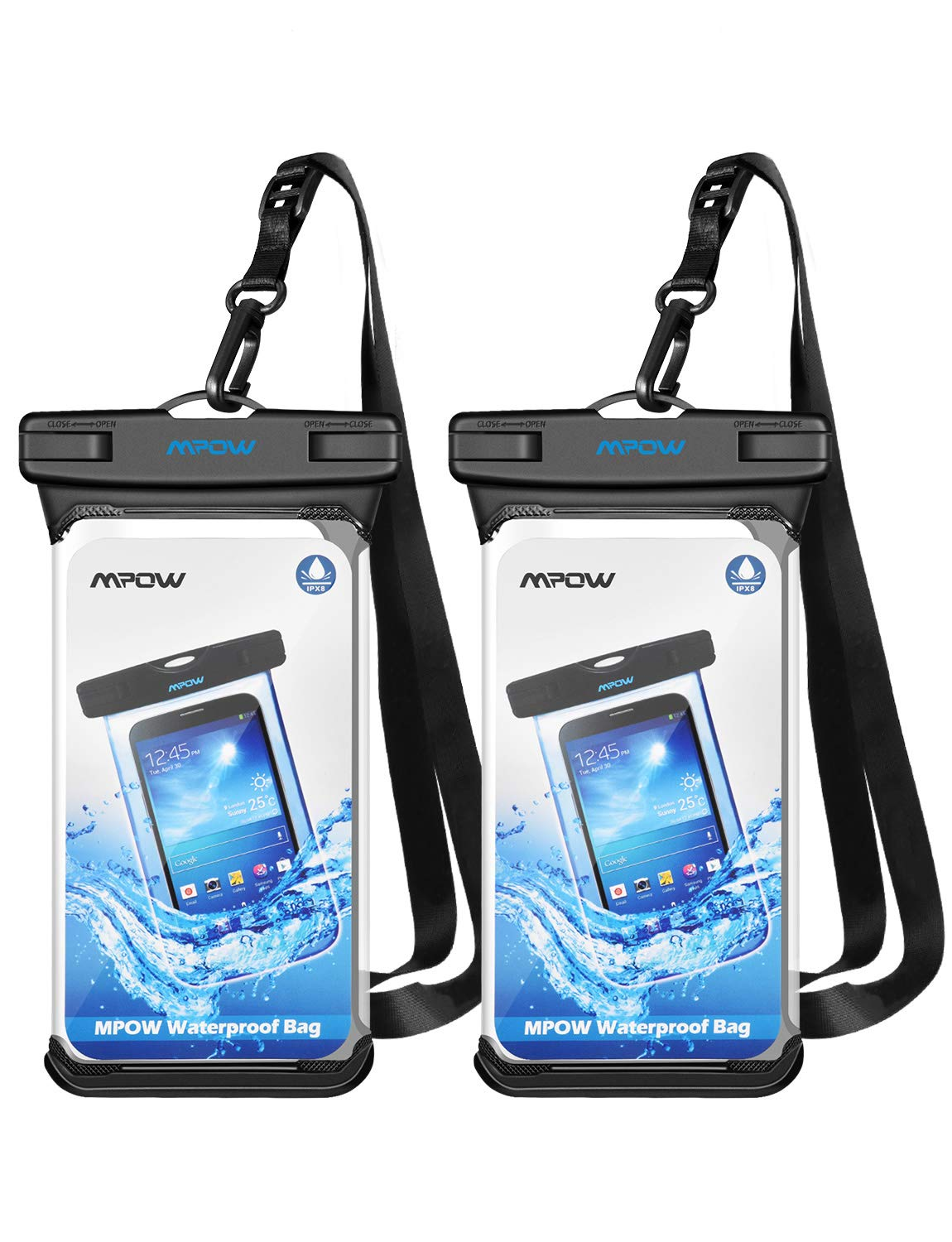 Mpow IPX8 Waterproof Case Phone Pouch, Unique Full Transparency IPX8 Dry Bag 2 Pack