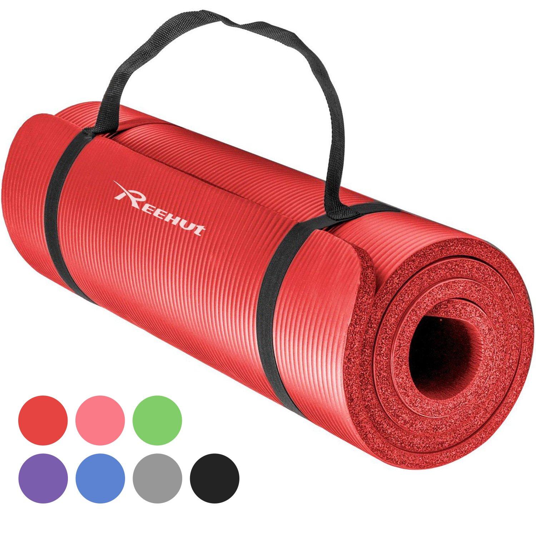 REEHUT Exercise Mat NBR Fitness Yoga Mat 12mm Extra Thick High Density NBR Mat