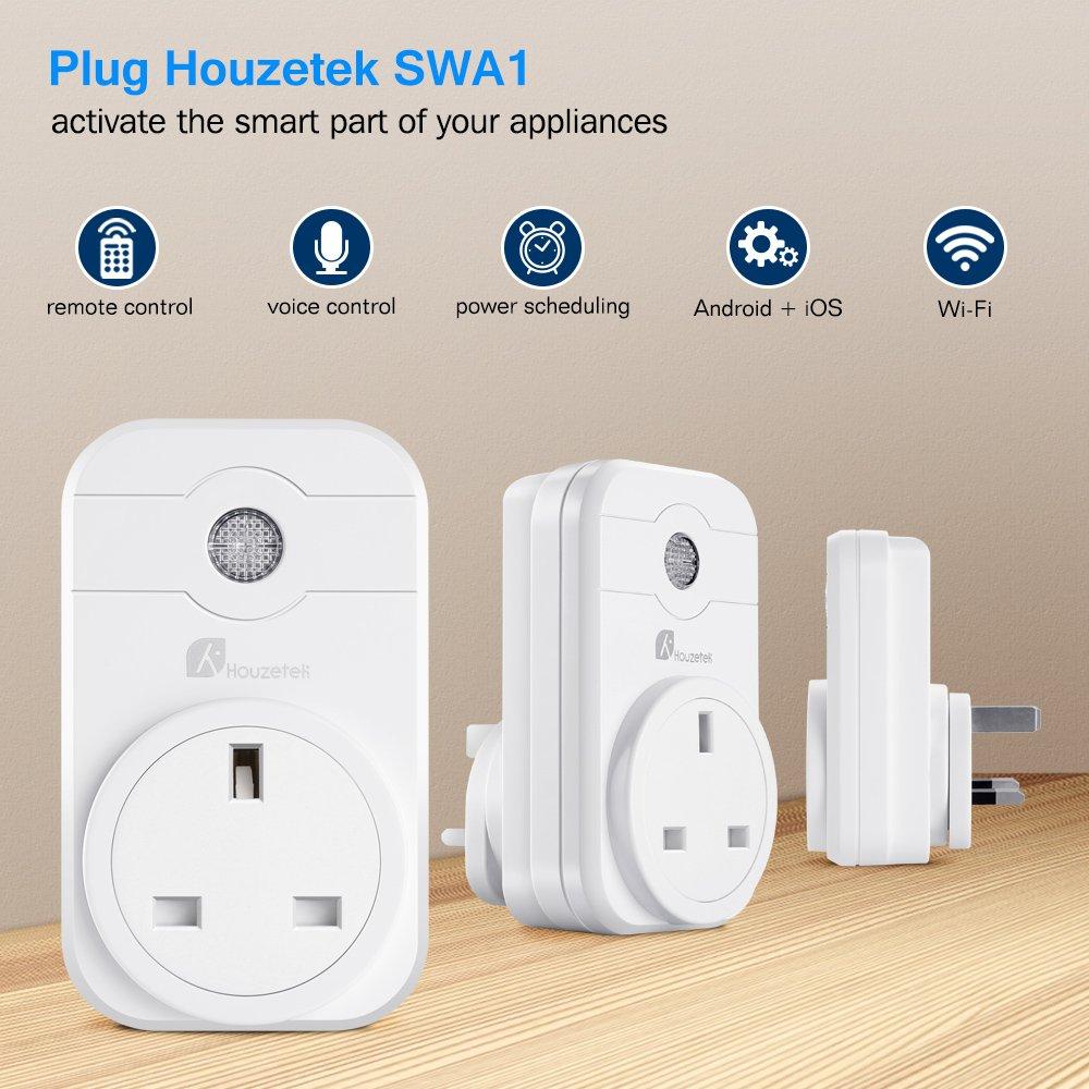 Smart WiFi Sockets Plug, Houzetek WiFi Plug Work with Amazon Alexa Google Assistant Remote Control