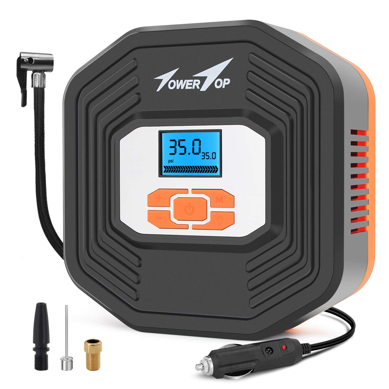 Towertop Digital Tyre Inflator, 12V DC Portable Air Compressor Pump, Car Tire Pump with LED Light and LCD Digital Display for Car, Bicycle, Motorcycle, Basketball and Other Inflatables