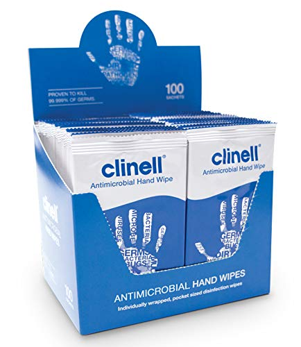 Clinell Antibacterial Hand Wipes -Pack of 100