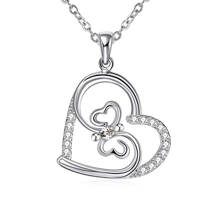 80% off ZHULERY Heart Pendant Necklace for Women Girl Sterling Silver