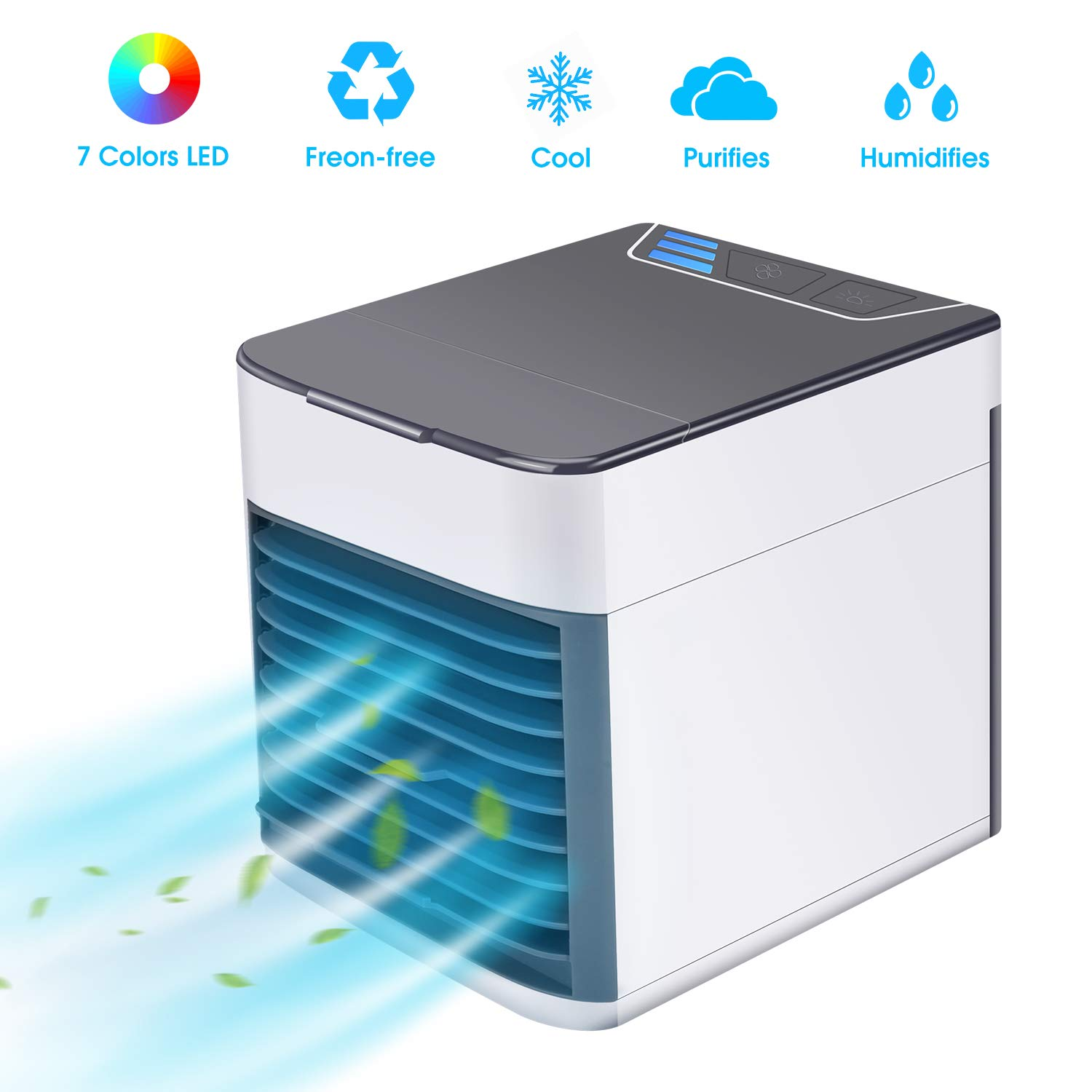 AUSHEN Personal Air Cooler,Mini Air Conditioner Fan Personal Space Cooler and Humidifier