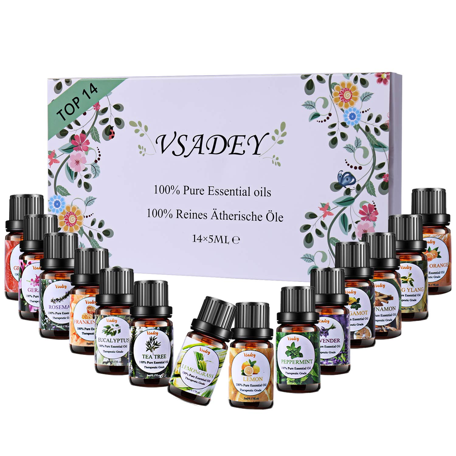 Vsadey Essential Oils Set 100% Pure Therapeutic Grade Organic Aromatherapy Scented Oils Kit for Diffuser, Humidifier, Bath