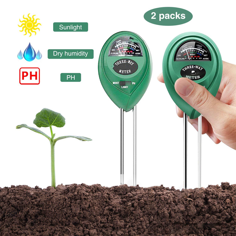 YEESON 3-in-1 Soil Tester Sensor Meter, Test Moisture, PH Value and Environment Sunlight Intensity Meter