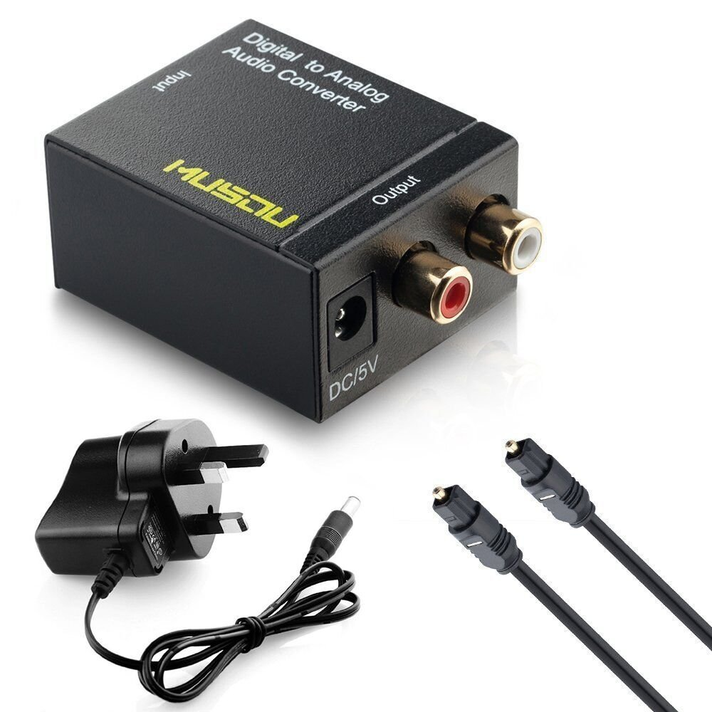 Musou Digital to Analog Audio Converter-Optical S/PDIF Toslink/Coaxial to RCA L/R