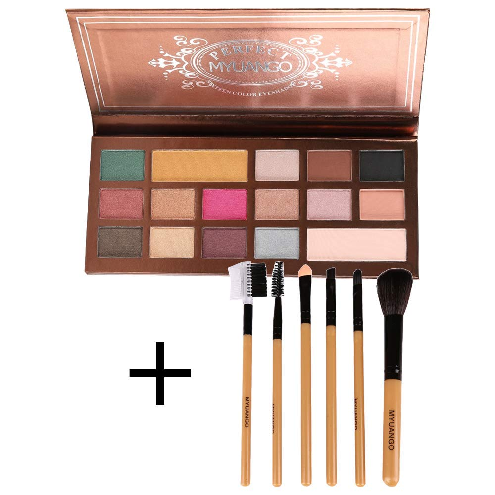 16 Colors Cosmetic Powder Eyeshadow Palette +7Pcs Makeup Brushes Set